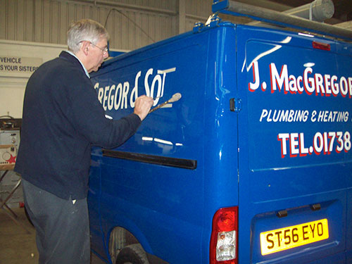 Sign writing declaying elder paton for Van sign writing templates